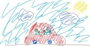 Child drawing of family trip